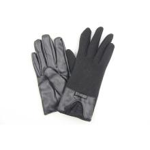 Moda moda cuero nudo lazo guantes de encaje