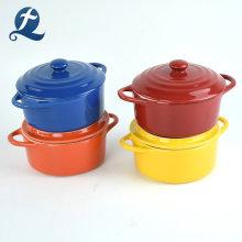 Juego de 4 ollas de cacerola de cerámica con tapa