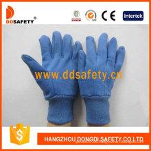 Blaue Baumwoll-Arbeitshandschuhe, Mini-Punkte auf Palm, Finger (DCD309)