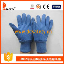 Blue Cotton Work Gloves, Mini Dots on Palm, Finger (DCD309)