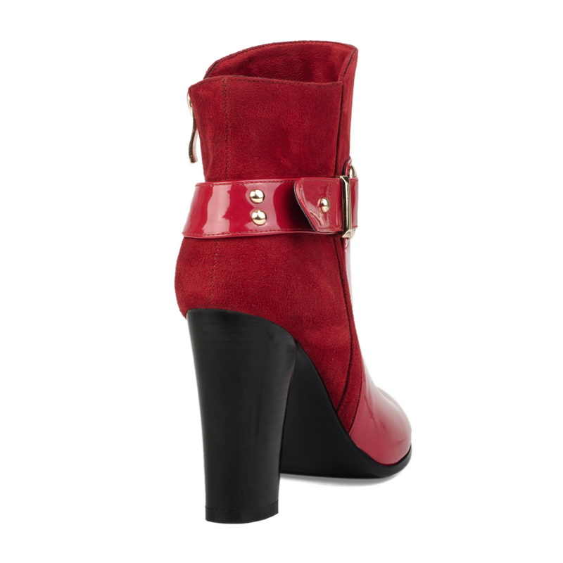 rubber heel red PU short half boots