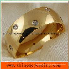 Shineme Joyas cómodas CZ 18k oro plateado anillo de titanio