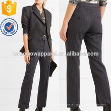 Pinstriped Wollmischung Straight-Bein-Hosen Herstellung Großhandel Mode Frauen Bekleidung (TA3050P)