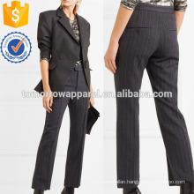 Pinstriped Wool-blend Straight-leg Pants Manufacture Wholesale Fashion Women Apparel (TA3050P)
