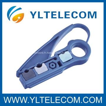 Poids léger câble Coaxial Stripper 2 lames outils de réseautage de matériel