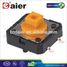Daier KFC-012-7.3B 12*12*7.3 Square Head Orange Button SMT Tactile Switch