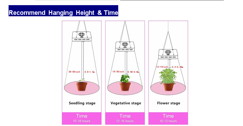 led grow light hanging height and time