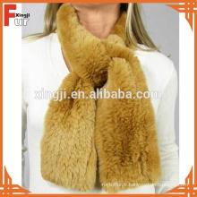 En gros tricoté à la main écharpe Rex fourrure de lapin