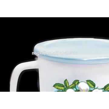 Taza de 16cm (2000 ml) de esmalte con etiqueta completa con tapa de PE o tapa de metal