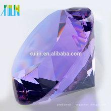 cadeau de souvenir en cristal personnalisé diamant en cristal violet pour les souvenirs de mariage