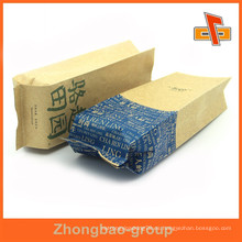 Diseño personalizado impreso gusset lateral kraft bolsa de papel para envasado de alimentos