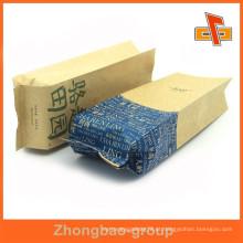 Design personalizado impresso gusset lado kraft saco de papel para embalagem de alimentos