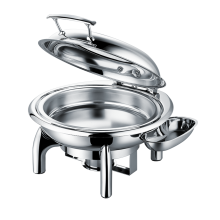 Stainless Steel Round Roll Chafing Dish w/Glass Window Lid