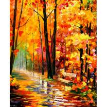 Peinture à l'huile de paysage à couteaux à la main sur toile