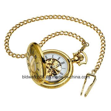 Hot Men′s Gold-Tone Mechanical Full Hunter Pocket Watch