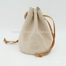 Factory logo embossing gift drawstring leather pouch