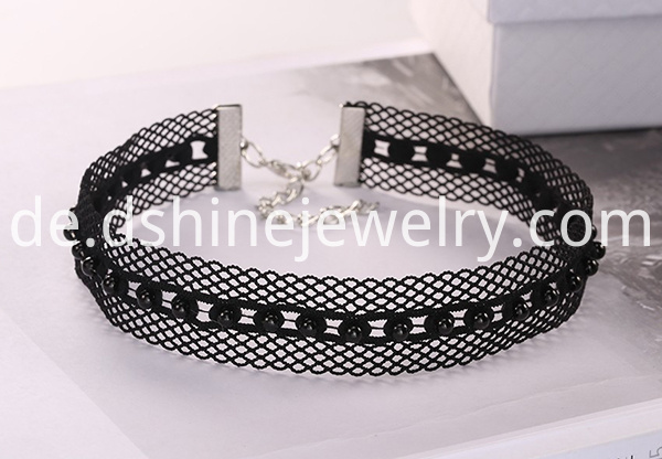 Black Wide Hollow Lace Necklace