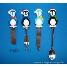 Вилка из нержавеющей стали с ручкой для пингвинов с смолой
