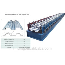 Metal structural building floor decking roll forming device