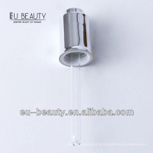 Glass dropper 18/400 with glass pipette with UV coating shiny silver