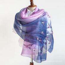 Lady fashion 180 * 90 tamaño peso señoras cuello de seda 70% pashmina 30% seda bufanda de mezcla cruda