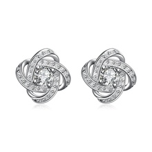 Venda quente de prata banhado a prata Zircon Ear Ear Stud Earrings