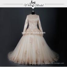 RSW783 Mulheres islâmicas de manga comprida de champanhe coloridas Dubai Muslim Wedding Dress Pictures