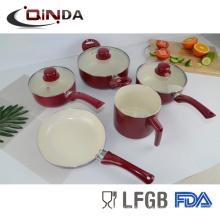 7pcs productos de venta caliente de brasil de aluminio utensilios de cocina de cerámica establece cocina
