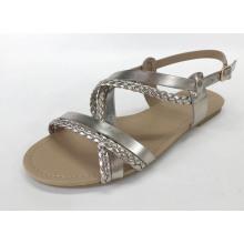 Sandales plates tissées pour femmes avec matériau PU