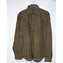 Camisa de flanela masculina de manga comprida com botão xadrez