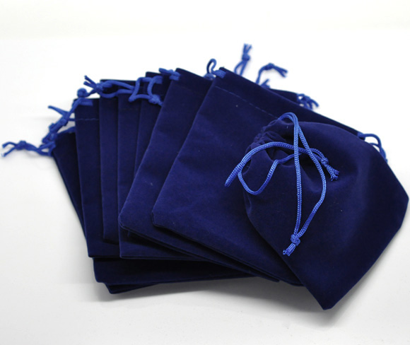 Chine supplier Dark blue velvet bag with blue string