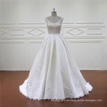Exquisito sirena Líbano diseñador satinado vestido de novia