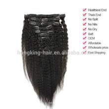 Grampo de cabelo humano brasileiro virgem da categoria 5a na extensão do cabelo à venda