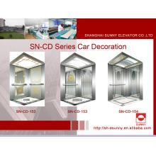 Cabine d'ascenseur avec le panneau d'or concave (SN-CD-152)