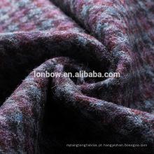 Tecido de tweed de lã roxo azul cinza em sobretudo de tweed dogtooth