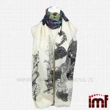 Étnico, pavão, pena, 100%, lã, impresso, cachecol