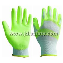 White/Hi Viz Yellow Nylon Work Glove with PU Palm Coated (PN8115)