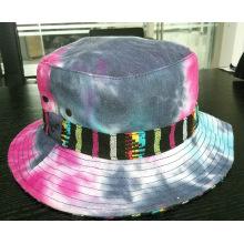 Chapéu de balde colorido lavado com denim (ACEW062)