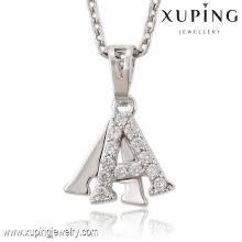 Moda elegante rodio CZ letras colgante, collar de la joyería -32560
