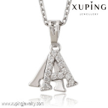 Fashion Elegant Rhodium CZ Letters Jewelry Pendant Necklace -32560