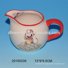Factory direct wholesale ceramic milk jug with monkey pattern