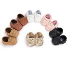 6 colores borlas de la PU suela blanda zapatos de bebé infantil niño mocasines