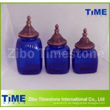 Cajas de almacenamiento de vidrio azul decorativas con tapa de tarro final