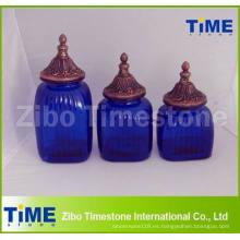 Botes de almacenamiento de vidrio azul decorativo con tapa de jarra finial