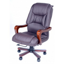 Wood Base Executive Chair Leather Office Chair