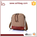 Popular 2016 rectangle Canvas Genuine Leather Messenger Bag
