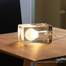 Modern Contemporary Hotel bedroom table lamps with glass shades LED Ice cube Table Lamp