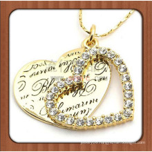 Dubai gold plated engraved name couple heart necklace