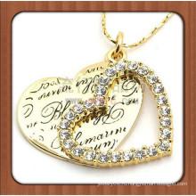 Дубай позолоченный выгравированное имя пара сердце ожерелье