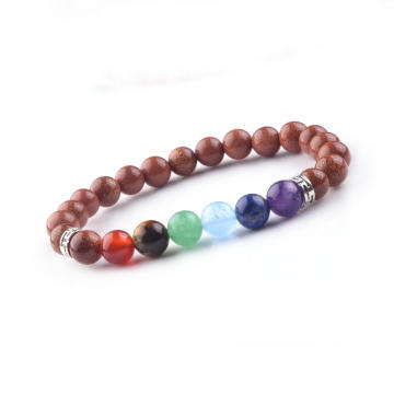 Reiki Gemstone 8MM Chakra Red Goldstone Rock Stone Healing Bead Bangle Bracelet